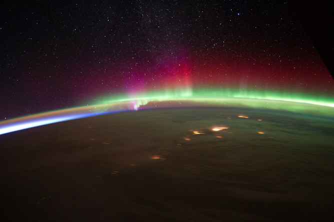 Aurora over Alaska seen from the International Space Station - Image Credits:      NASA/Flickr ,