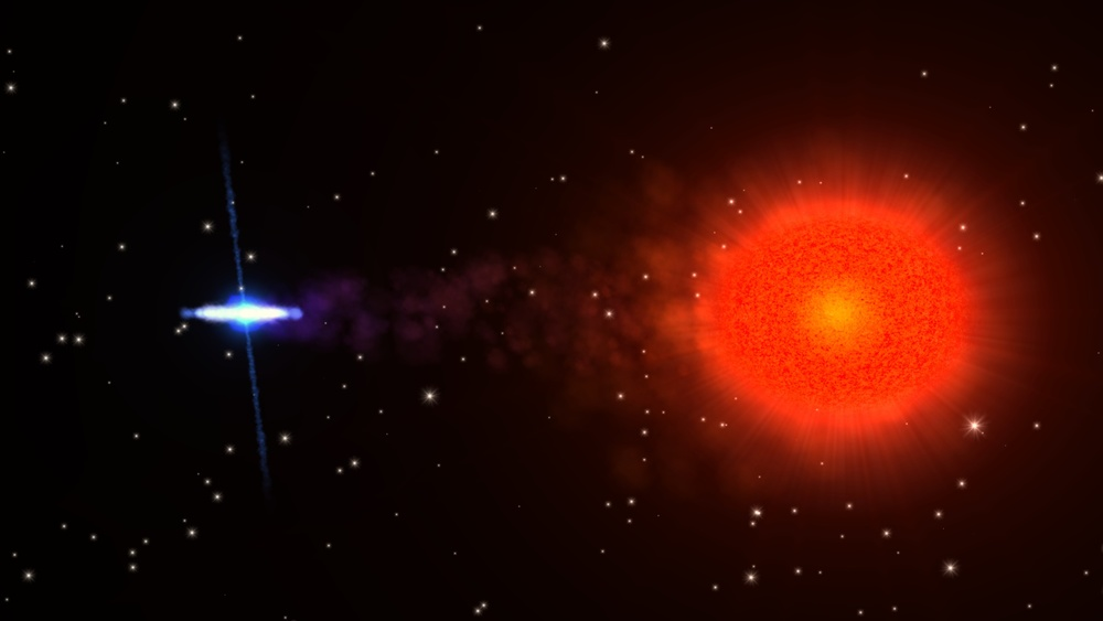 NASA artists' interpretation of the neutron star Swift J1749.4-2807 (left) with it's companion star (right) – Image Credits:       NASA/Goddard Space Flight Center