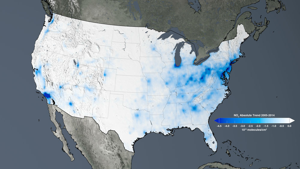 The trend map of the United States shows the large decreases in nitrogen dioxide concentrations tied to environmental regulations from 2005 to 2014. - Image Credits: NASA