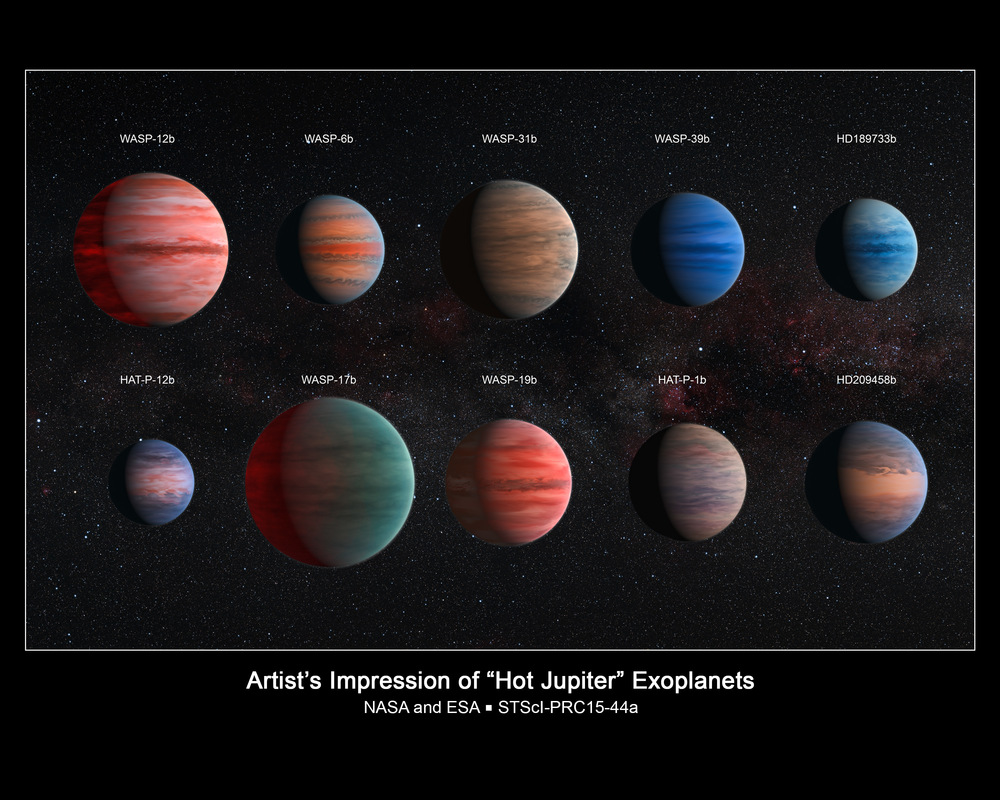 This image shows an artist's impression of the ten hot Jupiter exoplanets studied by astronomer David Sing and his colleagues using the Hubble and Spitzer space telescopes. From top left to lower left, these planets are WASP-12b, WASP-6b, WASP-31b, WASP-39b, HD 189733b, HAT-P-12b, WASP-17b, WASP-19b, HAT-P-1b and HD 209458b. – Image Credits: NASA, ESA, and D. Sing (University of Exeter)