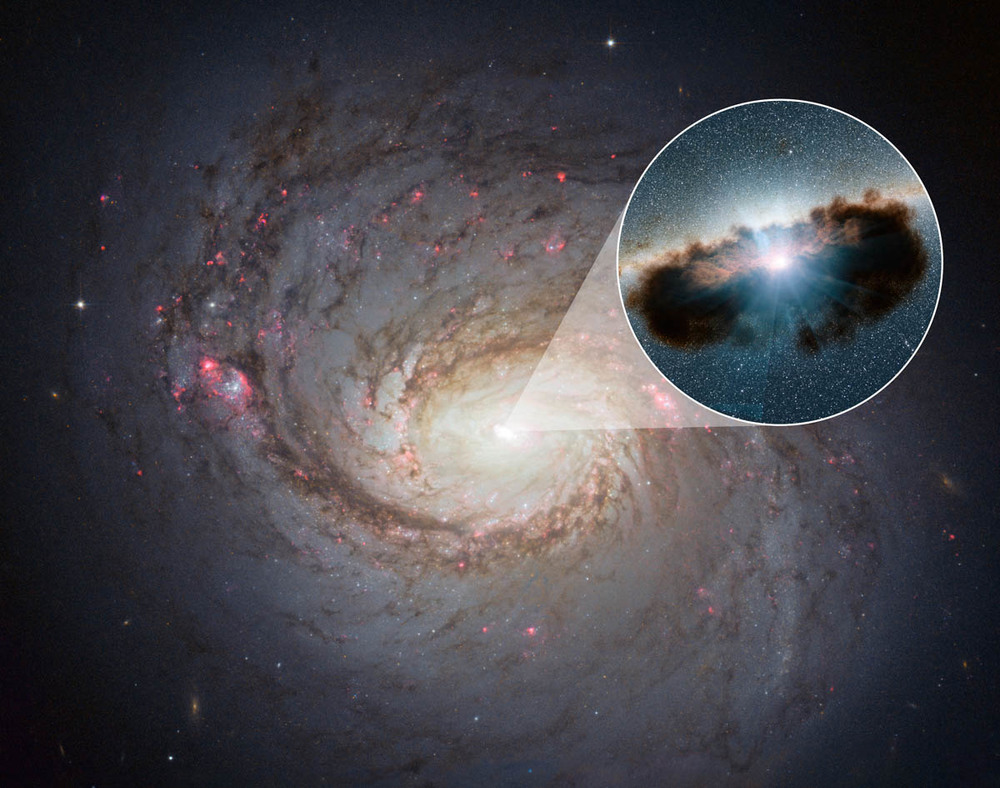 Hidden Lair at the Heart of Galaxy 1068. Galaxy 1068 can be seen in close-up in this view from NASA's Hubble Space Telescope. - Image Credit: NASA/JPL-Caltech