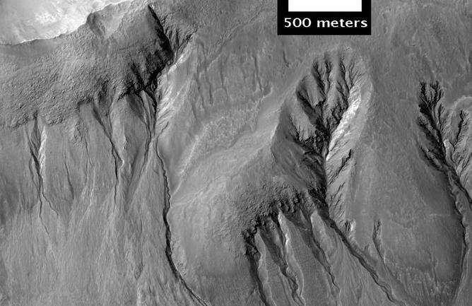Branched gullies – Image Credti: Jim Secosky/NASA