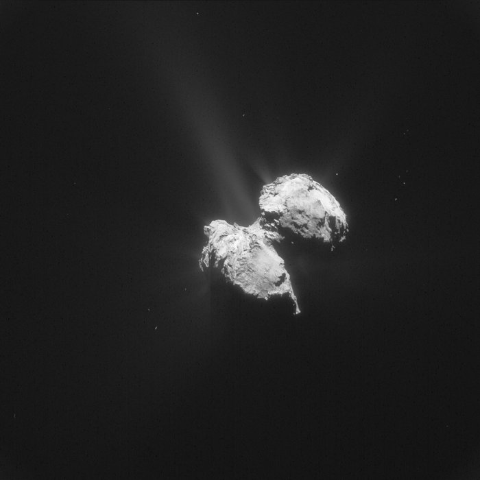 Comet 67P/Churyumov-Gerasimenko, as seen from Rosetta. – Image Credit:  ESA/Rosetta/NAVCAM
