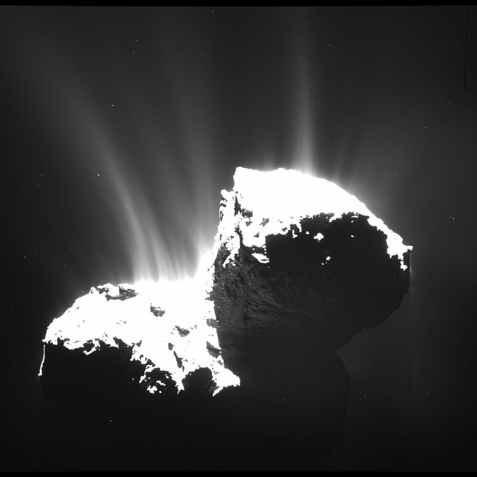Activity on Comet 67P – Image Credit:      ESA/Rosetta/MPS for OSIRIS Team MPS/UPD/LAM/IAA/SSO/INTA/UPM/DASP/IDA ,