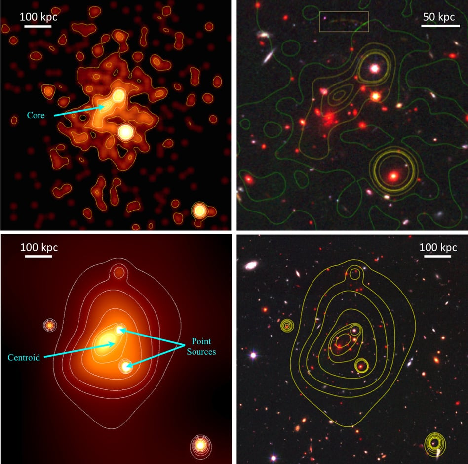 To get a more precise estimate of the galaxy cluster's mass, Michael McDonald and his colleagues used data from several of NASA's Great Observatories: the Hubble Space Telescope, the Keck Observatory, and the Chandra X-ray Observatory. - Image Credits: Courtesy of the researchers