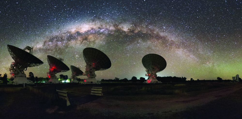 CSIRO's Compact Array telescope under the Milky Way - Image Credit Alex Cherney, Author Provided