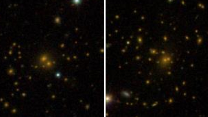 This comparison of galaxy clusters from the Sloan Digital Sky Survey DR8 galaxy catalog shows a spread-out cluster (left) and a more densely-packed cluster (right). A new study shows that these differences are related to the surrounding dark-matter environment. - Image Credit: Sloan Digital Sky Survey