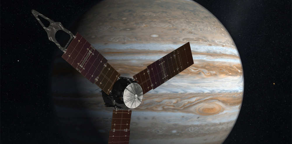 Juno in front of Jupiter - Image Credit: NASA/JPL