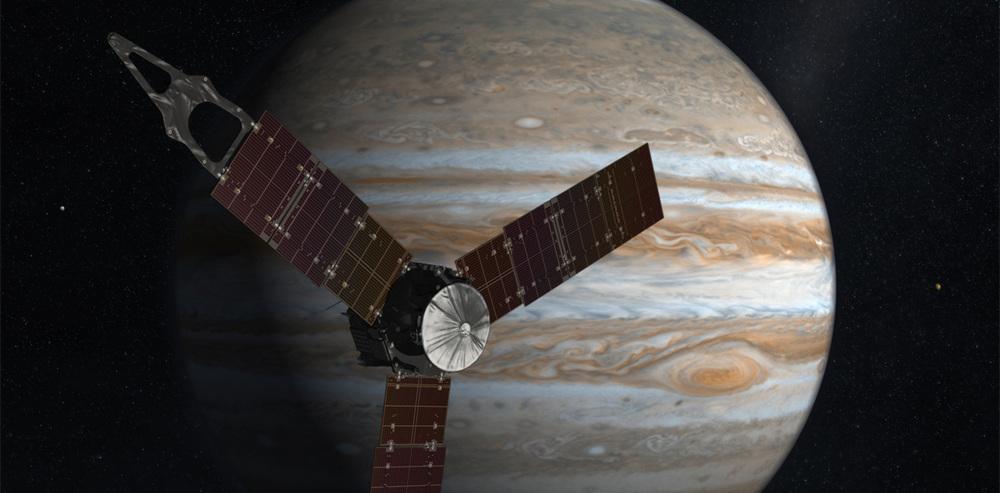 Juno in front of Jupiter - Image Credit: NASA/JPL