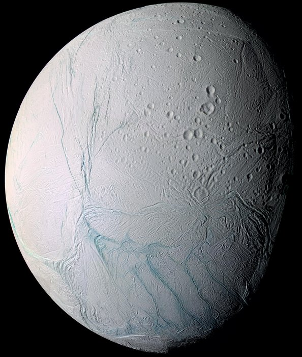 Enceladus craters and complex fractured terrains - Image Credit ESA