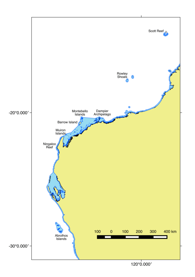 Map of Major coral reefs in Western Australia - Image Credit: Mick Haywood