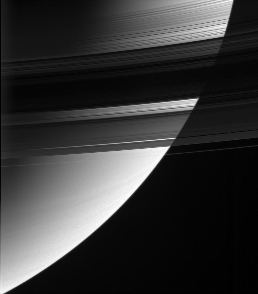 Some parts of Saturn's B ring are up to 10 times more opaque than the neighboring A ring, but the B ring may weigh in at only two to three times the A ring's mass. – Image Credits: NASA/JPL-Caltech/Space Science Institute