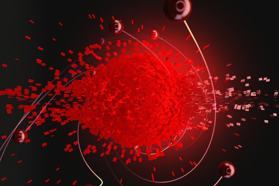 "In this image, the middle ""explosion"" is a cloud of hot electrons, inside graphene, that bounce off one another as they reach equilibrium and spread out. The red spheres are those electrons that are energetic enough to escape the hot cloud in less than 30 femtoseconds and generate an electric current. MIT researchers have developed a technique to access and control these ultrafast processes. - Image Credit: Ella Marushohenko (Ella Maru studio)"