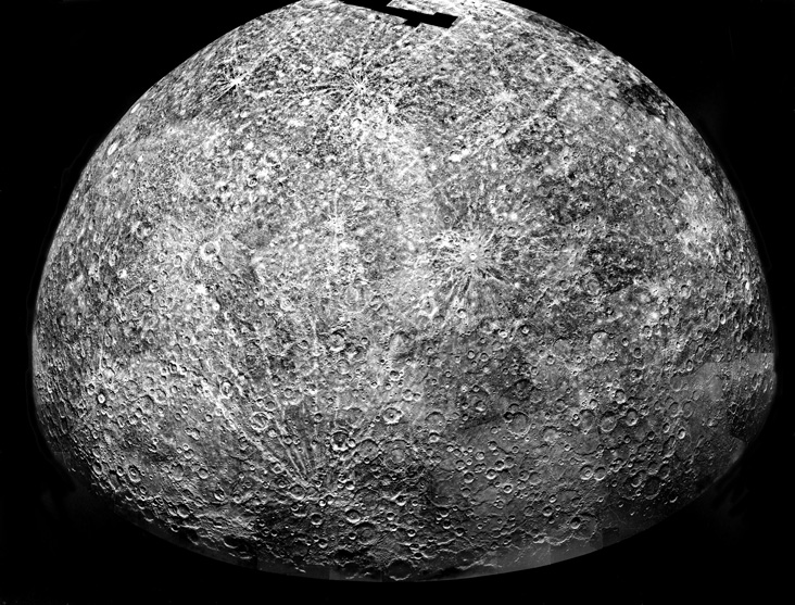 A photomosaic of images collected by Mariner 10 as it flew past Mercury. But was there another planet nearby?- Image Credit: NASA