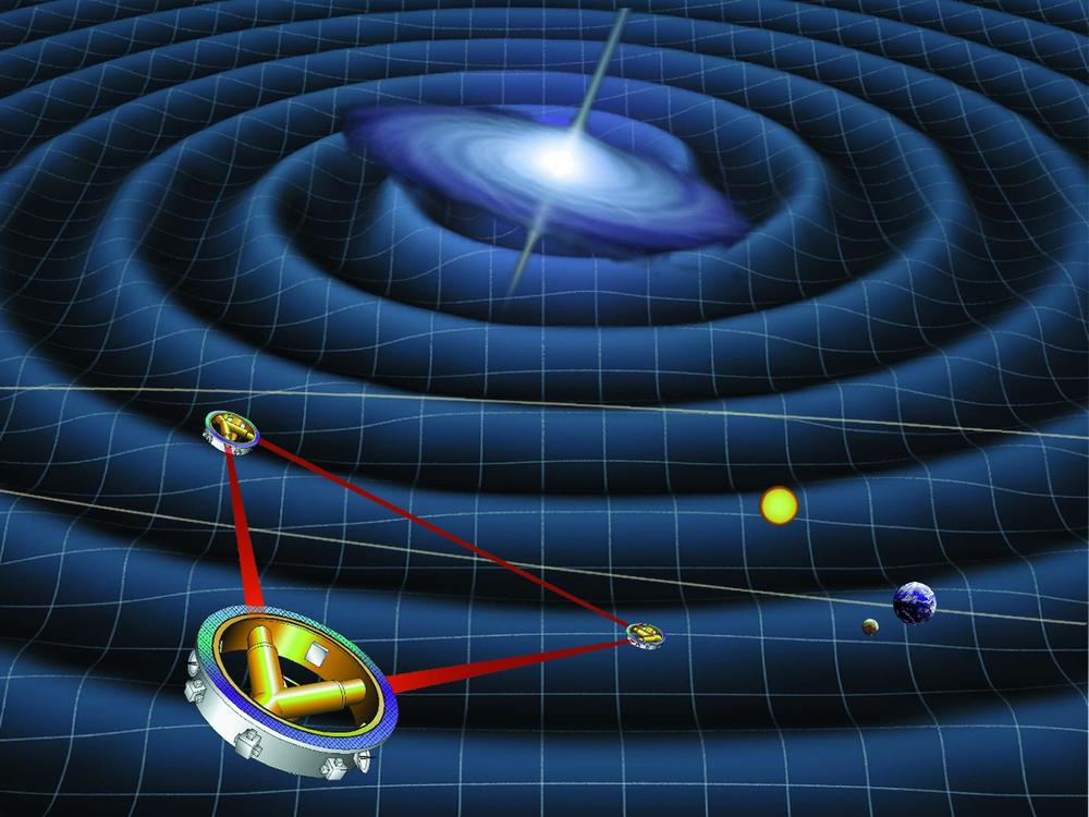 LISA, a planned space-based laser interferometer, could study astrophysical sources of gravitational waves in detail. - Image Credit:  NASA/WikimediaCommons