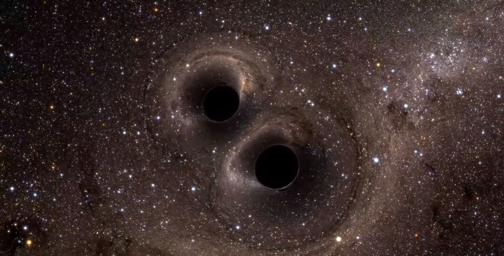 Two black holes collide. - Image Credit: University of Glasgow