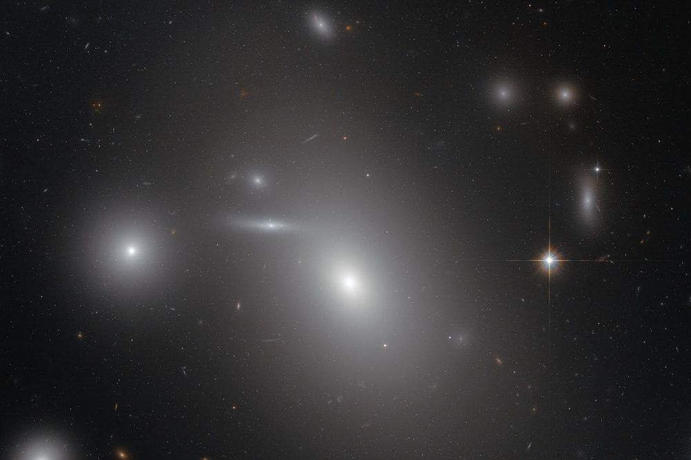 This image shows the elliptical galaxy NGC 4889 in front of hundreds of background galaxies, and deeply embedded within the Coma galaxy cluster. Well-hidden from human eyes, there is a gigantic supermassive black hole at the centre of the galaxy - Image Credit: NASA/ESA