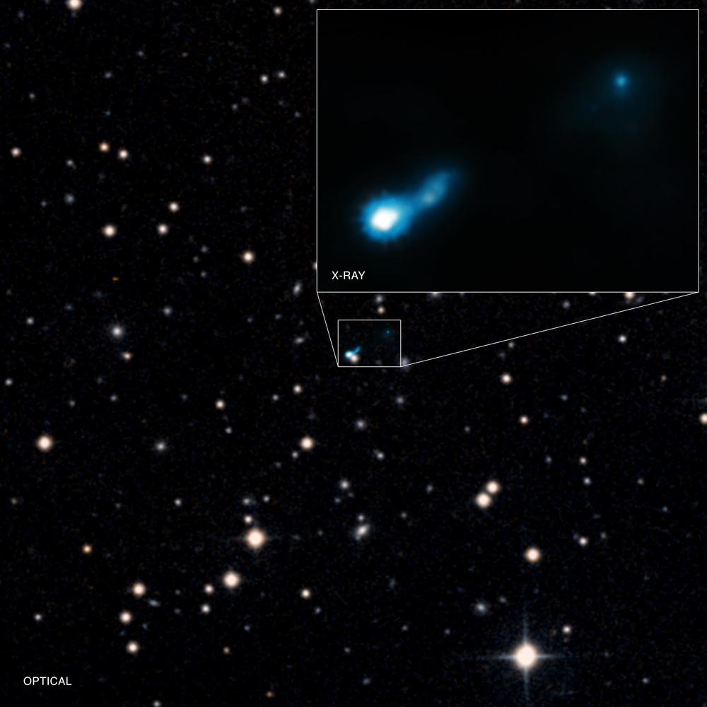 Extended X-ray jet associated with quasar B3 0727+409 - Image   Credits: X-ray: NASA/CXC/ISAS/A. Simionescu et al, Optical: DSS