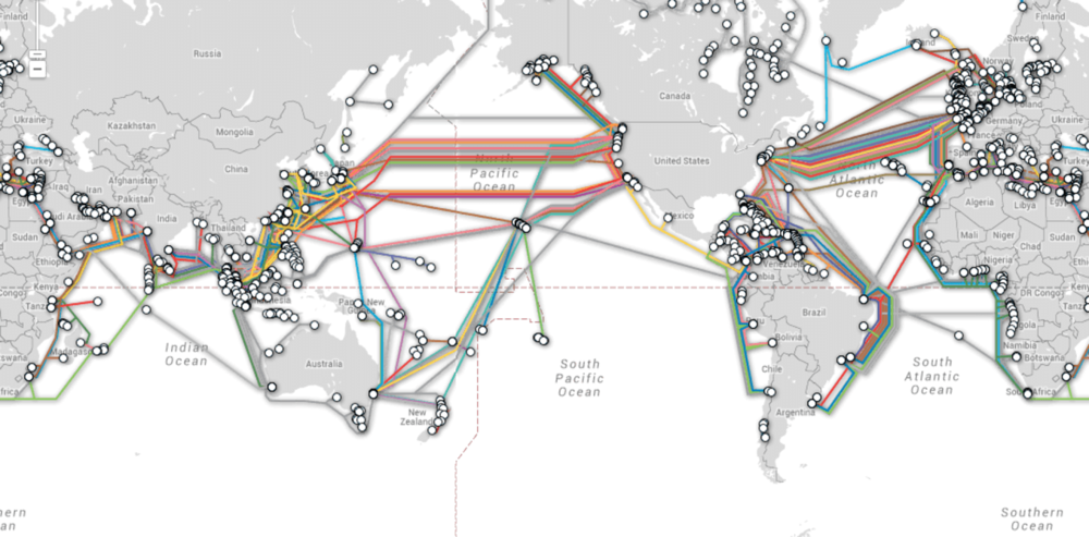 Cables crisscross the oceans carrying your internet info. Telegeography Submarine Cable Map