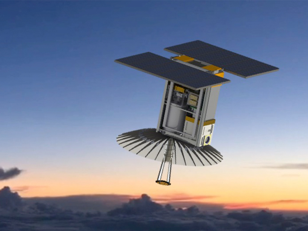 An illustration of RainCube, enabling precipitation observations from space in a CubeSat platform - Image Credits: RainCube team