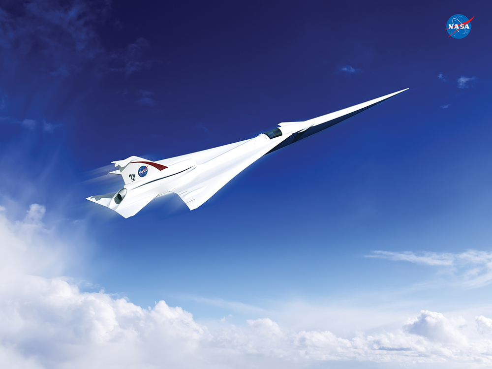 This is an artist's concept of a possible Low Boom Flight Demonstration Quiet Supersonic Transport (QueSST) X-plane design. The award of a preliminary design contract is the first step towards the possible return of supersonic passenger travel – but this time quieter and more affordable. - Image Credits: Lockheed Martin