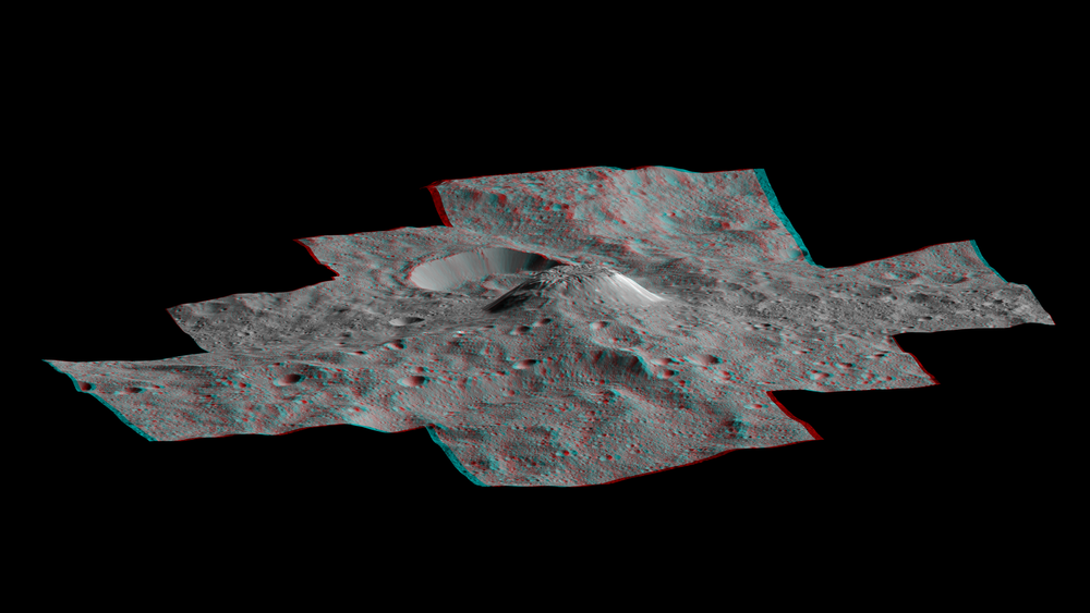 This side-perspective view of the mysterious mountain Ahuna Mons in 3D was made with images from NASA's Dawn spacecraft. - Image Credits: NASA/JPL-Caltech/UCLA/MPS/DLR/IDA