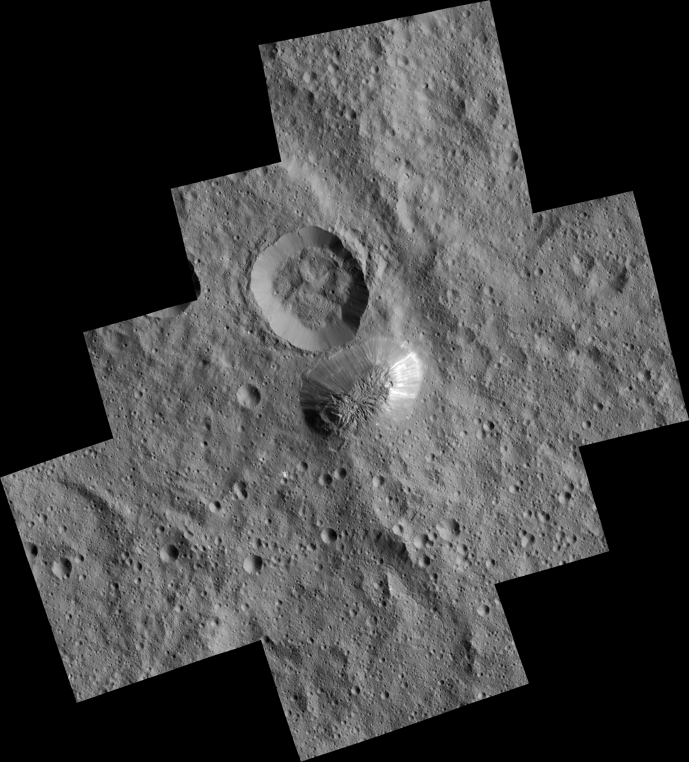 Ceres' mysterious mountain Ahuna Mons is seen in this mosaic of images from NASA's Dawn spacecraft. Dawn took these images from its lowest-altitude orbit - Image   Credits: NASA/JPL-Caltech/UCLA/MPS/DLR/IDA