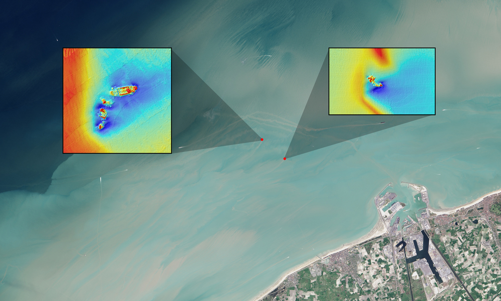 In this natural color Landsat OLI image, long sediment plumes extend from the wreck sites of the SS Sansip and SS Samvurn. Insets show elevation models (created by a multibeam echosounder) of the wrecks on the seafloor. - Image Credits: NASA/USGS Landsat/Jesse Allen/NASA Earth Observatory/Matthias Baeye et al