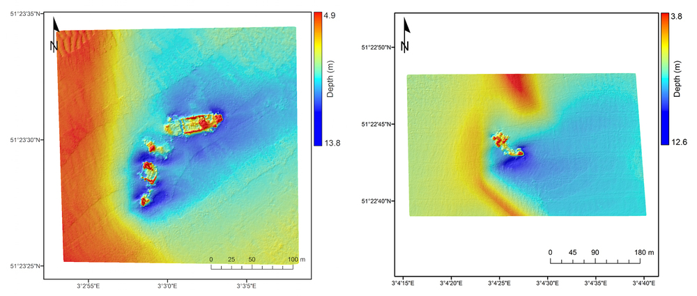 Elevation models show the SS Sansip (left) and the SS Samvurn (right) as imaged by a multibeam echosounder. Both of these ships leave sediment plumes detectable by Landsat 8 during ebb and flood tides. - Image Credit: Matthias Baeye et al