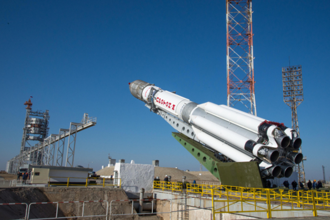 Rocket with ExoMars as it is getting ready for launch. – Image Credit: ESA - B. Bethge