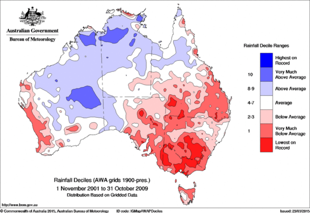 South-east Australia during the peak of the millennium drought (2001-2009)  - Image Credit:  Australian Bureau of Meteorology