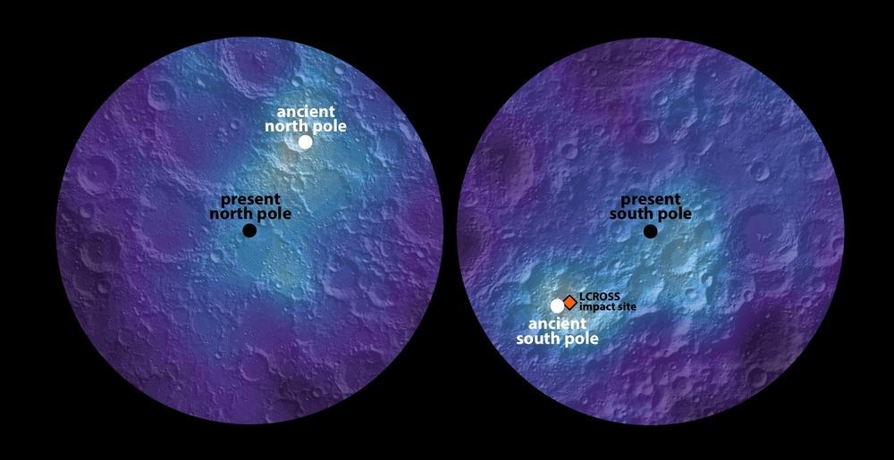 Maps of lunar polar hydrogen (proxy for water ice). White dots mark maximum abundance. - Image Credit:  James Keane, University of Arizona; Richard Miller, University of Alabama at Huntsville