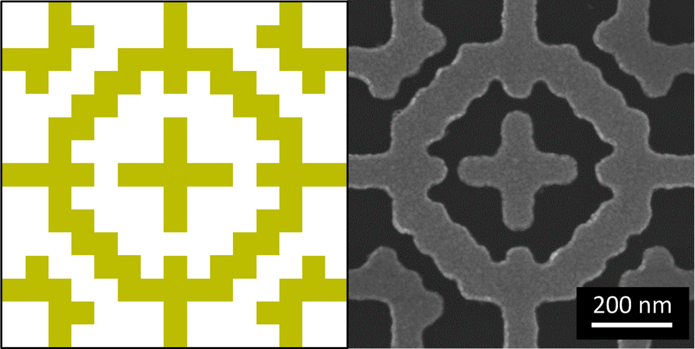 Drawing and reality: designing a metamaterial pattern. On the left is the plan; on the right is the actual object. - Image Credit:  Bossard/Penn State/Flickr ,  CC BY-NC-ND