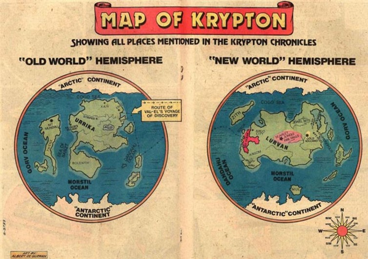 Map of the planet Krypton from the Superman comics. - Image Credit: WP:NFCC#4/wikimedia
