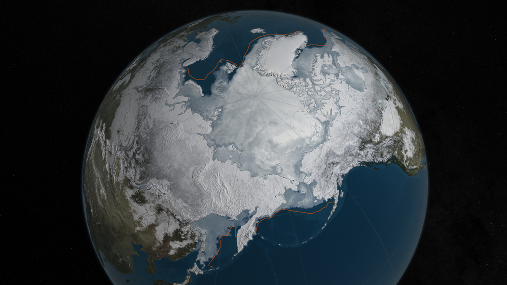 Arctic sea ice was at a record low wintertime maximum extent for the second straight year. At 5.607 million square miles, it is the lowest maximum extent in the satellite record, and 431,000 square miles below the 1981 to 2010 average maximum extent. - Image   Credits: NASA Goddard's Scientific Visualization Studio/C. Starr