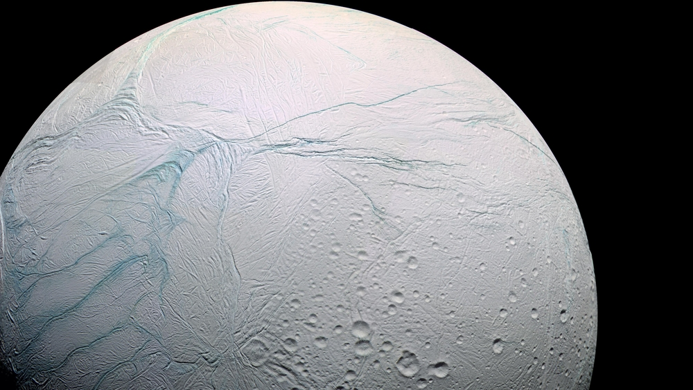 Enceladus, with its warm internal ocean, is thought to be potentially habitable. - Image Credit:  Marc Van Norden/Flickr ,  CC BY-SA