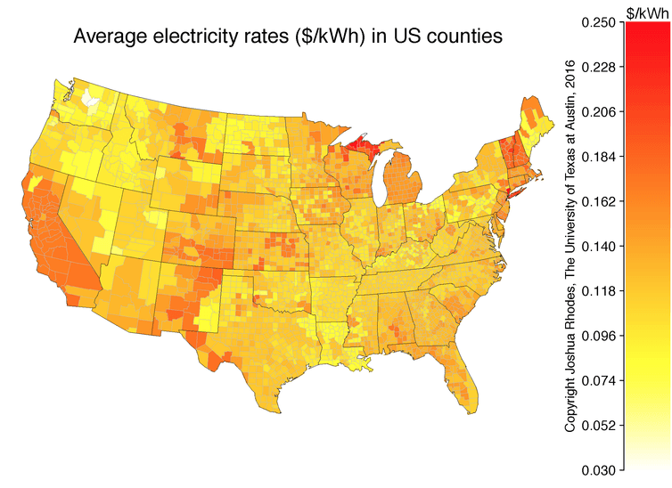 Map of average electricity rates across the U.S. - Image Credit: EIA