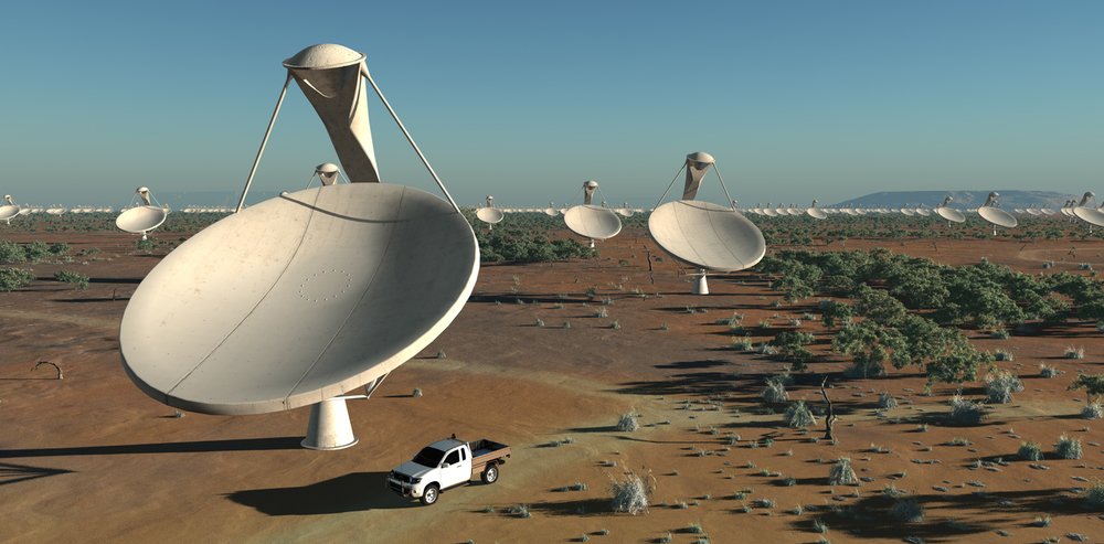 Artist's impressiong of the Square Kilometre Array, which will revolutionise our ability to detect fast radio bursts. SKA Project Development Office and Swinburne Astronomy Productions - Image Credit: Swinburne Astronomy Productions for SKA Project Development Office,  CC BY-ND