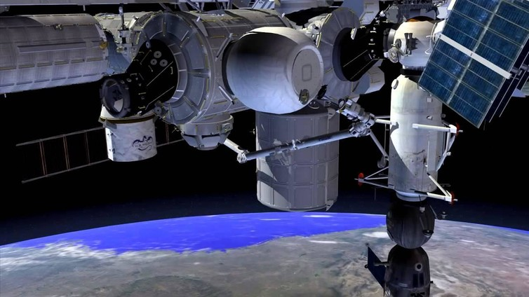The Bigelow Expandable Activity Module (the balloon-like structure in the top centre) connected to the Tranquility node of ISS. - Image Credit: NASA