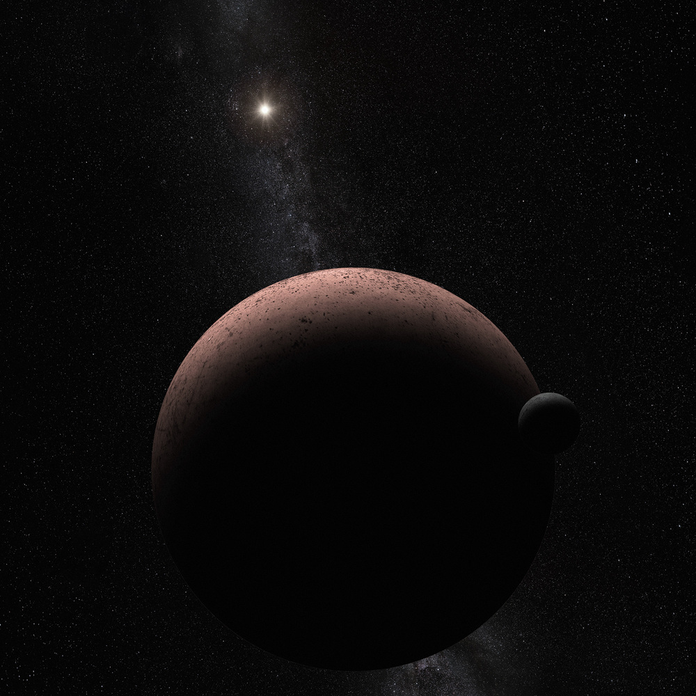This artist's concept shows the distant dwarf planet Makemake and its newly discovered moon. Makemake and its moon, nicknamed MK 2, are more than 50 times farther away than Earth is from the sun. - Image   Credits: NASA, ESA, and A. Parker (Southwest Research Institute)