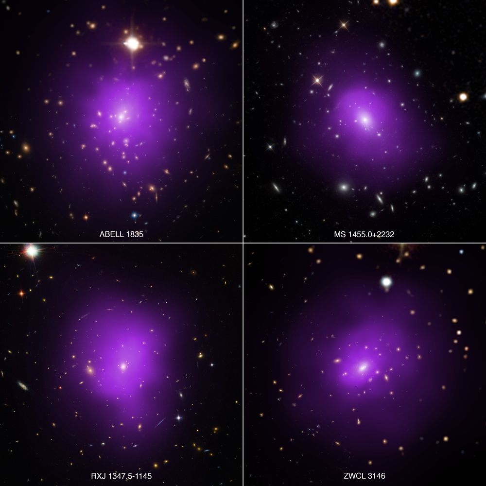 These four galaxy clusters were part of a large survey of over 300 clusters used to investigate dark energy, the mysterious energy that is currently driving the accelerating expansion of the Universe. In these composite images, X-rays from NASA's Chandra X-ray Observatory (purple) have been combined with optical light from the Hubble Space Telescope and Sloan Digital Sky Survey (red, green, and blue) - Image   Credits: X-ray: NASA/CXC/Univ. of Alabama/A. Morandi et al; Optical: SDSS, NASA/STScI