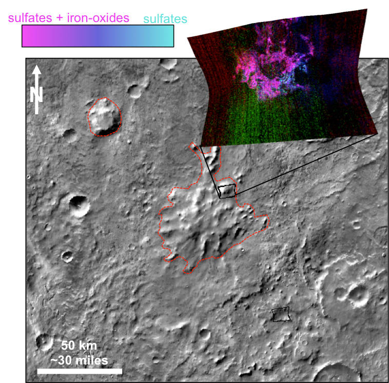 This graphic illustrates where Mars mineral-mapping from orbit has detected minerals that can indicate where a volcano erupted beneath an ice sheet. The site is far from any ice sheet on modern Mars, in an area where unusual shapes have been interpreted as a possible result of volcanism under ice. - Image Credits: NASA/JPL-Caltech/JHUAPL/ASU