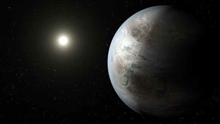 An artist's impression of what planet Kepler-452b may look like, the first near-Earth-size world to be found in the habitable zone of star that is similar to our sun. - Image Credit: NASA Ames/JPL-Caltech/T. Pyle