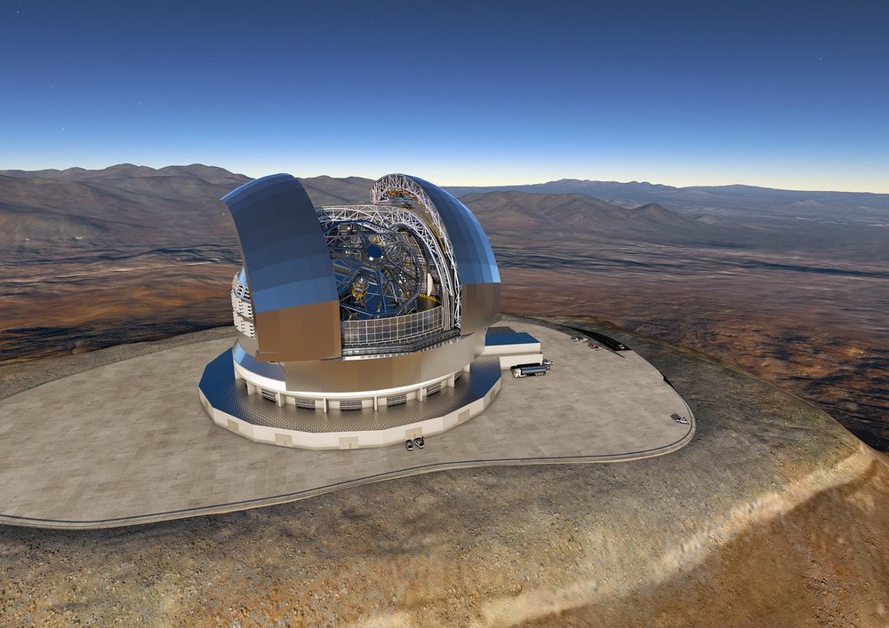 This artist's rendering of the E-ELT is based on the detailed construction design for the telescope. – Image Credit: ESO/L. Calçada/ACe Consortium
