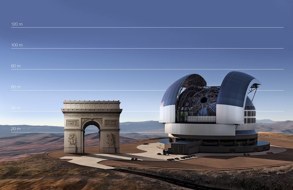 This artist's impression compares the E-ELT to the Arc de Triomphe in Paris, France. – Image Credit: ESO