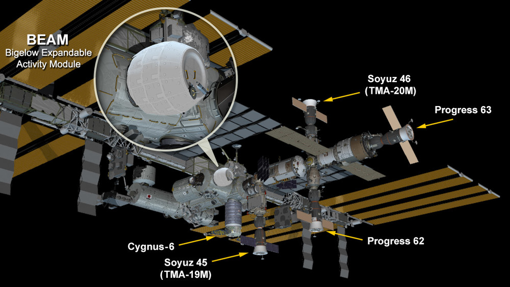The space station now hosts the new fully expanded and pressurized Bigelow Expandable Activity Module attached to the Tranquility module. – Image Credit: NASA