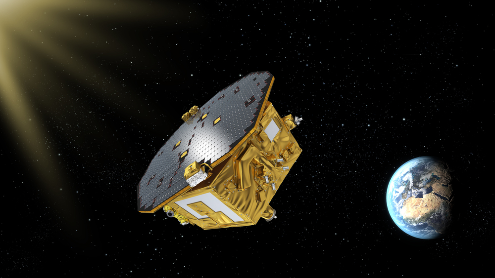 An artist's rendering of LISA Pathfinder on its way to Earth-sun L1. -   Credits: ESA/C. Carreau