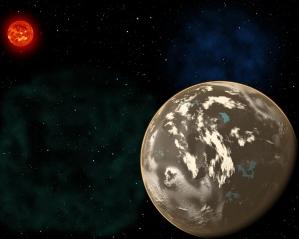 In this artist's conception, a carbon planet orbits a sunlike star in the early universe. Young planetary systems lacking heavy chemical elements but relatively rich in carbon could form worlds made of graphite, carbides and diamond rather than Earth-like silicate rocks. Blue patches show where water has pooled on the planet's surface, forming potential habitats for alien life. - Credit: Christine Pulliam (CfA). Sun image: NASA/SDO