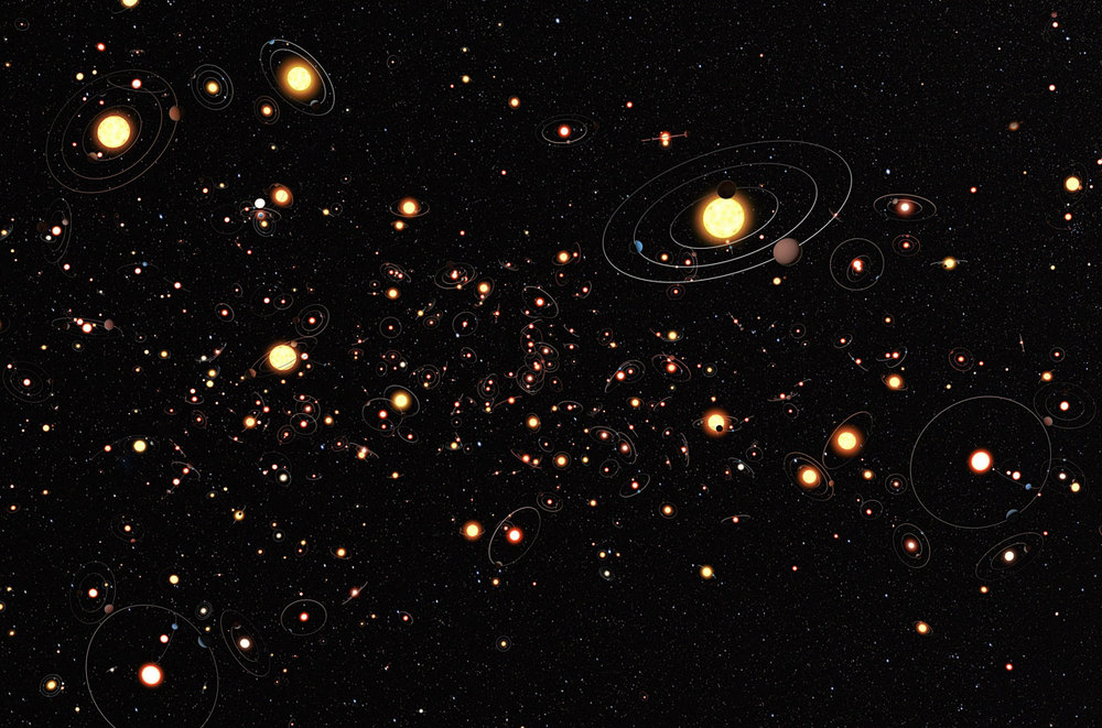 An artists's impression of how common planets are around the stars in the Milky Way. - Image Credit: ESO/M. Kornmesser