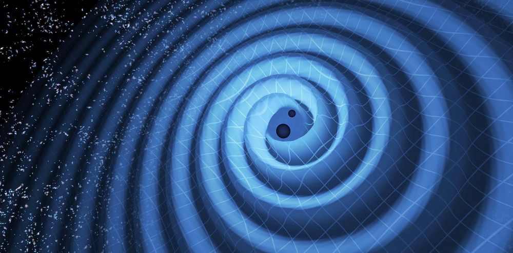 An illustration showing the merger of two black holes and the gravitational waves that ripple outward. - Image Credit: LIGO/T. Pyle